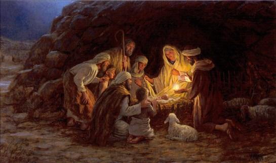 Die Hirten von Bethlehem beim Christkind, seiner Mutter und Josef