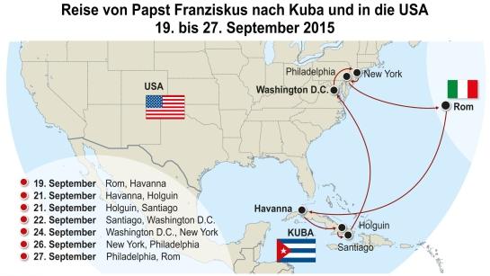 Die Grafik bietet eine Übersicht über die Reise von Papst Franziskus nach Kuba und in die USA vom 19. bis 27. September 2015.