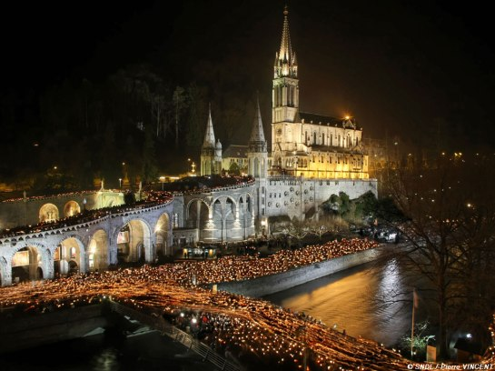 Basilica of Lourdes at night1