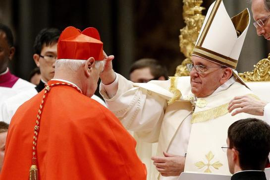 huGO-BildID: 35531183 epa04095100 Newly-elevated Cardinal Gerhard Ludwig Mueller (L) of Germany receives the scarlet silk biretta from the hands of the Pope Francis after having taken the oath, during the consistory in St. Peter's Basilica, Vatican City, 22 February 2014. Pope Francis appointed 19 new cardinals, who are the most senior Roman Catholic clergymen after the pope. EPA/FABIO FRUSTACI +++(c) dpa - Bildfunk+++