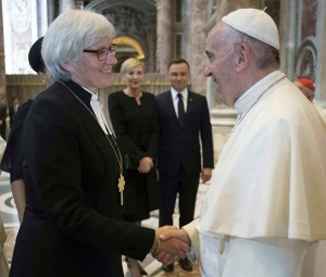 file -- in this file photo, taken on june 5, 2016, pope francis meets lutheran archbishop antje jackelen, primate of the church of sweden, on the occasion of the canonization ceremony of two new saints, stanislaus of jesus and maria elizabeth hesselblad, at the vatican. pope francis travels to sweden next week to commemorate the split in western christianity 500 years ago. (l'osservatore romano/pool photo via ap);june 5 2016 file photo - pool photo