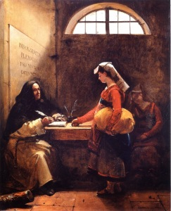 francois-marius-granet-a-peasant-girl-buying-an-indulgence-1825
