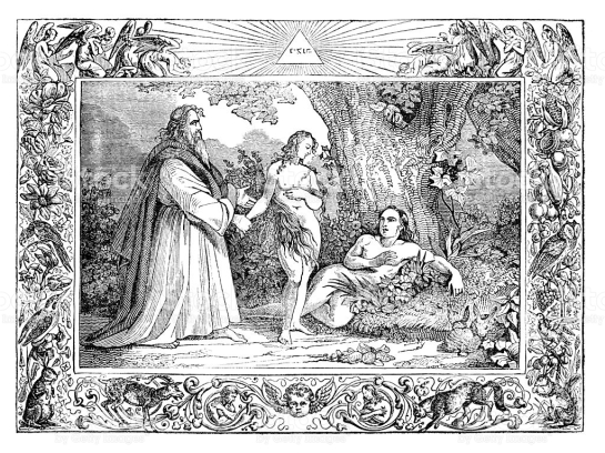 Steel engraving of God creation of woman Adam and Eve Original edition from my own archives Source : Bilder-Bibel 1836 1. Buch Mose Gen. Chap.2