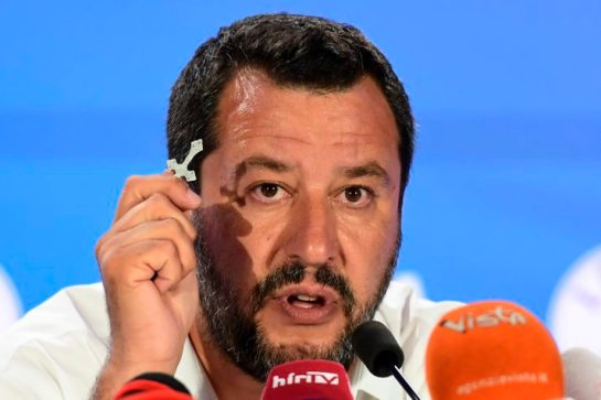 Italian Deputy Prime Minister and Interior Minister Matteo Salvini delivers a press conference holding a rosary after the announcement of initial results during the election-night event for European parliamentary elections on May 26, 2019, in the Lega headquarters in northern Milan. - Matteo Salvini's anti-migrant League party won the most votes in Sunday's European elections in Italy with 27-31 percent, marking a historic success for the far-right, exit polls showed. (Photo by Miguel MEDINA / AFP) (Photo credit should read MIGUEL MEDINA/AFP/Getty Images)